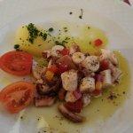 A delicious luke warm octopus salad