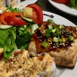 Grilled Teriyaki Salmon dinner special with Bang Bang Shrimp Roll
