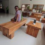 Hardwood benches and tables - beautiful and heavy as stone - created by the hotel owner.