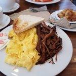 Eggs n Brisket ('lite' on the brisket sauce) & Perfect scrambled eggs