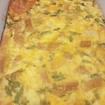 Egg Casserole with cheese and spinach in it.