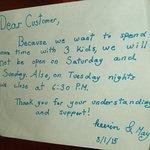Sign on restaurant door