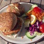 Vegetarian Chilli Burger with Jacket Potato & Salad