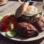 1/2 Burger with mushrooms, egg,cheese & baked sweet potato & salad