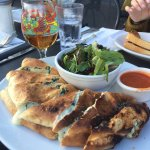 Mean Green calzone. Very good; loved the crust. Not too heavy on the ricotta. The surprise was t