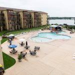 Seasonal Outdoor Pool (part of Waterpark) / East face of Hotel Condo Building