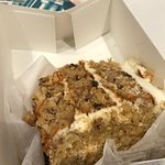 Carrot cake and blueberry pecan crust jubilee