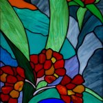 Each bungalow has a beautiful stained-glass window celebrating the diverse flora and fauna.