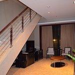 split level design; bed upstairs