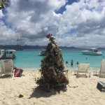 Christmas Tree on the Beach in front of the bar.
