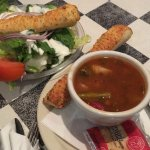 Salad and Soup (those parmesan breadsticks are amazing!)