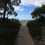 Walk way from resort to beach
