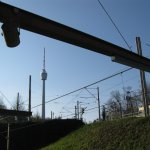 Blick von der U-Bahnhaltestelle Ruhbank (Fernsehturm)