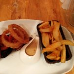Siloin with triple cooked chips and melt in your mouth onion rings, lovely