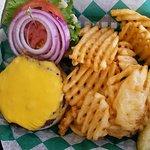 Cheeseburger and fries, good!
