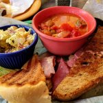 Lunch at Williams Hardware: Cuban and Reuben sandwiches, tomato/okra soup, potato salad