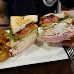 This is the huge club sandwich with ham, turkey, and bacon.