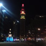 Tower lit up at Christmas
