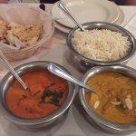 Chicken tikka masala and chicken korma