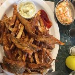 Hubby and I stopped here for lunch had fish dinner. Yellow perch, fries, coleslaw and salad. All