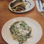 Seabass and Chicken & Spinach Risotto