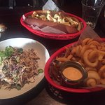 Vegetarian hotdog, slaw, curly fries