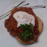 Excellent mince on ciabata with egg, mexican style