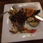 Red snapper, sweet potato, grilled veggies and pineapple chutney. Delicious