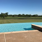 Main pool by the restaurant with views of the horse fields.
