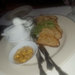 Duck Pate, with lavender sauce, crostini and mustard. Wonderful