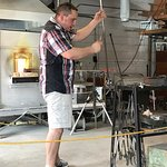 Todd making a glass bulb