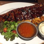 Pork with ribs and chips and salad