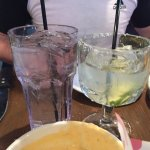 "The ""margarita"" is the glass on the right. I'm sure the only color in this drink came from the l"