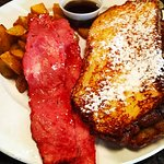 Vanilla bean french toast with duck bacon.