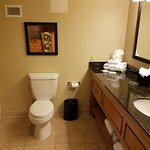 Nice roomy bathroom. Clean. Dated look.