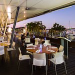 Waterfront dining with uninterrupted views of the marina