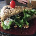 The Mediterranean sandwich on focaccia bread