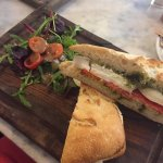 goats cheese, roasted red pepper and pesto on ciabatta