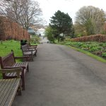 path with benches, Kibble Palace in background