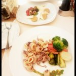 Fried calamari and seasonal vegetables, Croatian cheese platter - so much deliciousness!