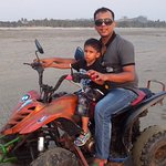 On Beach Motorbike with my son
