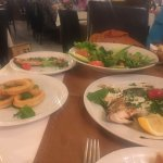 part of the fish meze sorry the sea bass is looking well eaten