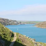 view of Salcombe in the distance along the coastal path