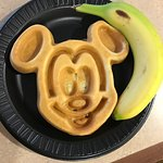 Mickey waffles they offer at the hotel for breakfast