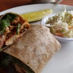 Grilled chicken wrap and cole slaw
