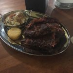 Full rack of St. Louis Ribs and Loaded Mash Potatoes.  You also get cornbread.