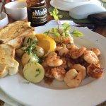 Plentiful plates. Good seafood.