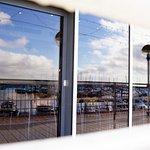 Marina reflection on Breezes Cafe