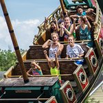 Soaring to new heights on the Rum Runner Pirate Ship at Magic Springs Theme & Water Park.