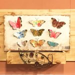 Colorful artsy butterflies mounted in a frame on the wall.